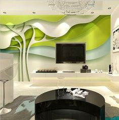 3D Custom Abstract Green Trees Modern Wallpaper Mural in