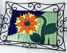 Mosaic tray Handmade serving tray Urban farmhouse Sunflower kitchen decor Bedside tray Designer home decor Fall trends Gift ideas for her