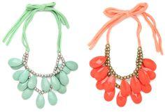 [Mint and Tangerine Teardrop Bib Necklaces via baublebar]