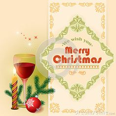 We wish you Merry Christmas text, Glass of wine and arabesques frame border.