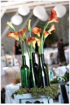Wine Bottle Vases...put those empty bottles to use.