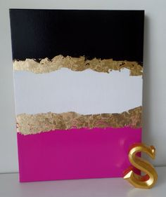 Kate Spade Inspired decor Acrylic Canvas Painting Black Pink