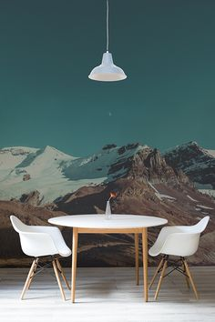 Dinner for two with a view? This landscape wallpaper mural is perfect for creating an unique setting for dining room spaces. The dreamy blue sky meets the rigidness of the mountain range, giving a dramatic effect to your interiors.