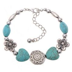 Turquoise Beads Flowers Bracelet Handmade Accessories Fashion Jewelry Feature: 100% brand new and high quality. Quantity: 1PC Gender: Women, Girl Material:Turqu