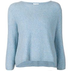 3.1 Phillip Lim cropped pullover found on Polyvore featuring tops, sweaters, shirts, pitkähihat, sweatshirts, blue, three quarter sleeve shirts, sweater pullover, wool pullover and crop top