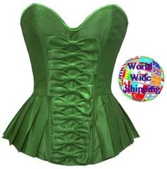 Bows Up The Front Corset, Peplum Green Ae 1019293