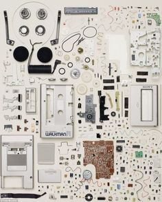 things organized neatly: sony walkman parts Futurama, Shadow Creatures, Things Organized Neatly, Technology Posters, Exploded View, Coming Apart, Deconstruction, Everyday Objects, Art Plastique