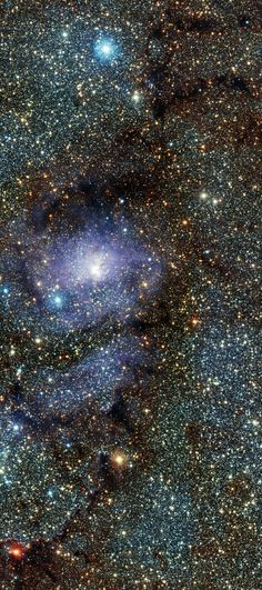 Lagoon Nebula. The Lagoon Nebula (catalogued as Messier 8 or M8, NGC 6523, Sharpless 25, RCW 146, and Gum 72) is a giant interstellar cloud in the constellation Sagittarius. It is classified as an emission nebula and as an H II region.
