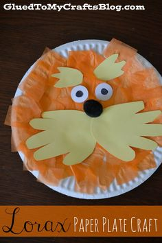 This Lorax paper plate craft has simple supplies and is easy for children of all ages. The book that inspired this craft is The Lorax. http://hative.com/dr-seuss-crafts-for-kids/