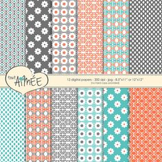 Flower & Geometric Digital Scrapbook Paper Printable by ToutAimee $6.39