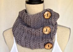 Crochet Cowl Neck Warmer Scarf - Hammerhead Grass Short Ribbed Yarn with Coconut Buttons on Etsy, $45.00 CAD