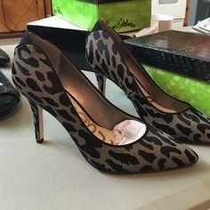 Sam Edelman grey leopard pumps new! Brand new in box Sam Edelman grey and black leopard pumps. Dyed fur. Sam Edelman Shoes Heels