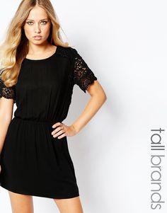 Y.A.S+Tall+Crochet+Lace+Yoke+Dress