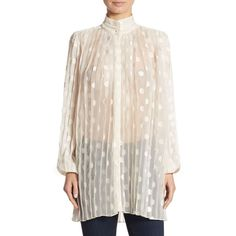 Zimmermann Rife Blouse (2.705 RON) ❤ liked on Polyvore featuring tops, blouses, high-neck blouses, high neck long sleeve top, pleated top, pink high neck top and dot blouse