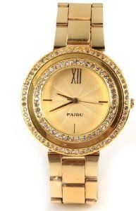 Paidu Women Quartz Watch Gold Color Steel Band Wrist Watch 58938 ! watches are best gifts.
