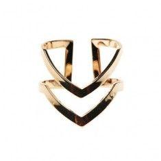 Líneas Doble V en forma de anillo de plata Oro Knuckle Midi