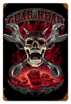 Vintage and Retro Wall Decor - JackandFriends.com - Vintage Gearhead Metal Sign, $39.97 (http://www.jackandfriends.com/vintage-gearhead-metal-sign/)