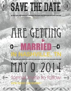 Black, white, pink and yellow wedding/save the date cards. Black and white photo of couple in the background. Faces and names have been blurred.