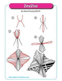 ZingZing tangle pattern by Marie Penzing PatternCollections.com