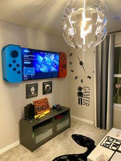 Gamer Bedroom, Boys Bedroom Decor, Boys Game Room, Boy Room, Mens Room Decor, Game Room Decor, Nintendo Room, Snug Room, Gaming Room Setup