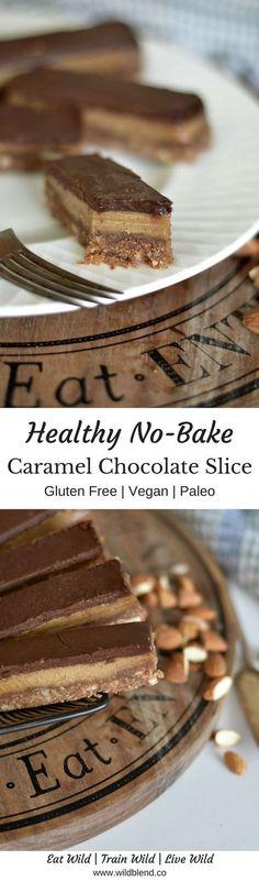 Healthy No-Bake Caramel Chocolate Slice - Glutenfrei, vegan, paleo. Weitere leckere glutenfreie und vegane Rezepte findest du unter www.berioo.de.