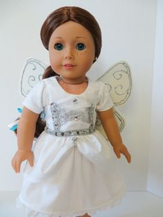 Doll Costume Sewing Pattern- Make an angel costume for your 18 inch doll with the Sugar n Spice Pattern by OhSewKat. Native American Halloween Costume, Matching Halloween Costumes, Halloween Costume Patterns, Halloween Dress, Halloween Doll, Costume Ideas, Girl Doll Clothes, Doll Clothes Patterns, Girl Dolls