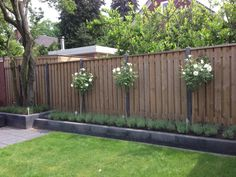 Narrow border with rose trees and lavender. Shade Landscaping, Small Backyard Landscaping, Backyard Patio, Small Garden Landscape, House Landscape, Landscape Design, Back Gardens, Small Gardens, Outdoor Gardens