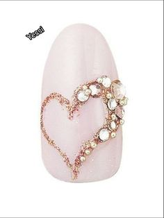 The Best Nail Art Designs – Your Beautiful Nails Heart Nail Designs, Pink Nail Designs, Simple Nail Art Designs, Elegant Nail Designs, Swarovski Nails, Rhinestone Nails, Bling Nails, Rhinestone Nail Designs, Stiletto Nails