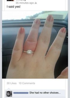 But her finger said no.