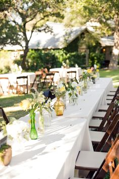 simple center pieces for a rustic wedding