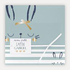 9017571b25aeb Faire part naissance Sucre d Orge   Pochette lapin garcon   satin  blanc papier soie