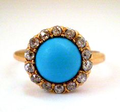 ANTIQUE VICTORIAN 14K YELLOW GOLD OLD MINE CUT DIAMONDS TURQUOISE PASTE RING