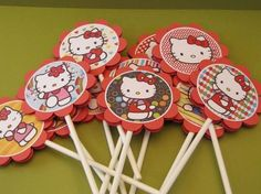 Hello Kitty cupcake toppers - set of 12 - KriskropMemories