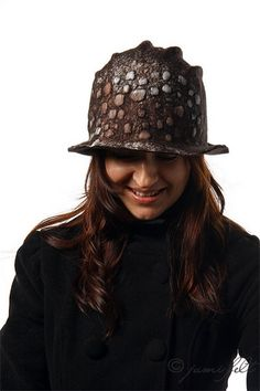 Felt hat. Ponge silk and merino wool. Felted, handmade by JumiFelt.