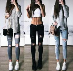 Which Outfit - 2 or 3 ? Winter Fashion Casual, Casual Winter Outfits, Edgy Outfits, Outfits For Teens, Fall Outfits, Pret A Porter Feminin, Tumblr Outfits, Instagram Outfits, Body Fitness