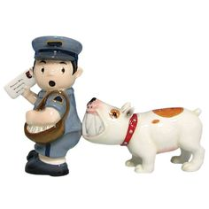 Westland Giftware Mwah, Magnetic Mailman and Dog Salt and Pepper Shaker Set, 3-3/4-inch. These shakers have a magnetic insert to keep them together.