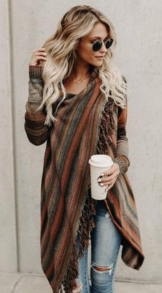Cute and cozy for autumn! Single Button Tassel Asymmetrical Hem Shawl-Brown fall fashion can't miss it outifit travel trend best selling online store Mode Outfits, Casual Outfits, Fashion Outfits, Womens Fashion, Fashion Trends, Ladies Fashion, Fashion Ideas, Fashion 2015, Tween Fashion