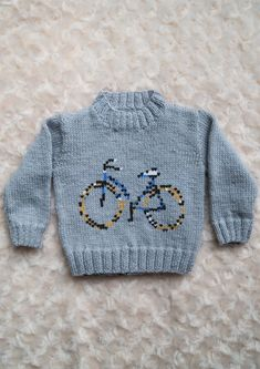Intarsia - Bicycle Chart - Childrens Sweater Knitting pattern by Instarsia Baby Boy Knitting Patterns Free, Baby Sweater Knitting Pattern, Knitting For Kids, Baby Patterns, Baby Boy Sweater, Knit Baby Sweaters, Pixel Crochet Blanket, Crochet Blankets, Pull Bebe