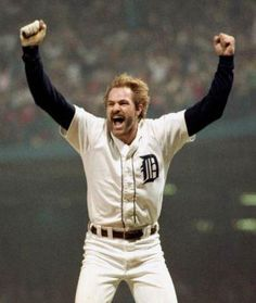 One of the most iconic images of my life -- Detroit Tigers 1984 World Series Championship. Kirk Gibson #gibby #detroittigers #tigerstadium #mlb