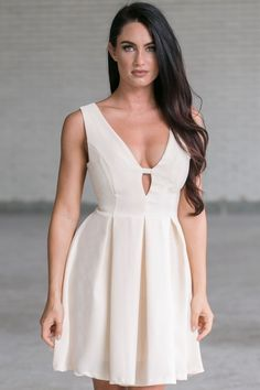 Lily Boutique Ashton A-Line Dress in Ivory, $34 Ivory A-Line Party Dress, Cute…