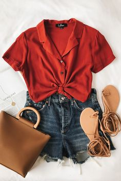 Cute Summer Outfits to Look Stylish and Relax In Summer - Outfit & Fashion Mode Outfits, Short Outfits, Trendy Outfits, Fashion Outfits, Womens Fashion, Fashion Trends, Vintage Summer Outfits, Fall Outfits, Orange Outfits