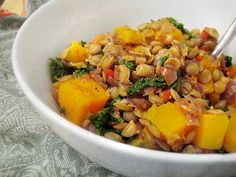 Peppered lentils with kale and butternut squash