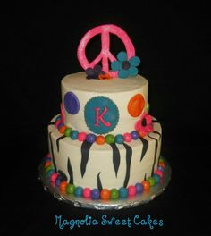 Flower power peace sign cake