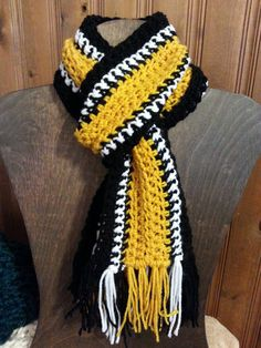 Pittsburgh Steelers Black Gold and White Scarf with Fringe - Boy's Girl's - NFL - Team Wear - Fan Wear by MountainRoadCrafts on Etsy