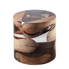 Bout de Canapé en verre acrylique et bois flotté 31-Crusoé S 3950