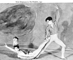 Margot with Robert Helpmann in The Wanderer (1941). An unusual position, reflecting the circles in the John Piper's design. One of Ashton's neo-Romantic wartime ballets. Music by Schubert.