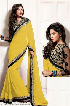 Buy Yellow Georgette Sarees Online Shopping: justforbuy.com
