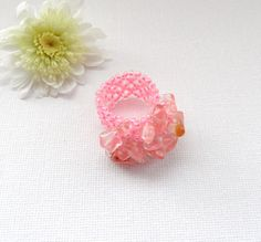 Pink Ring  Adjustable Ring  Rock Crystal Chips by CraftsbySigita,