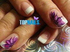 Acrylic Nails French Floral painted free
