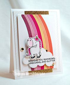Birdie Brown Magical Unicorns stamp set and Die-namics and End of the Rainbow Die-namics - Tammy Hershberger Unicorn Birthday Cards, Girl Birthday Cards, Unicorn Cards, Birthday Images, Rainbow Card, Mft Stamps, Magical Unicorn, Animal Cards, Kids Cards